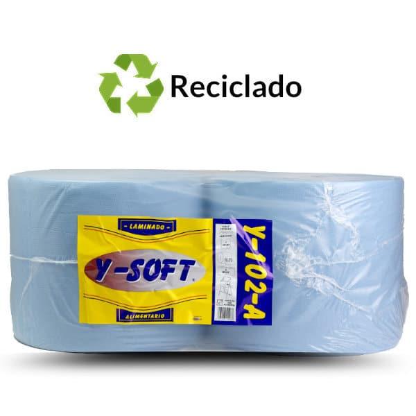 Bobinas de papel industrial reciclado alimentario gofrado 2 capas azul