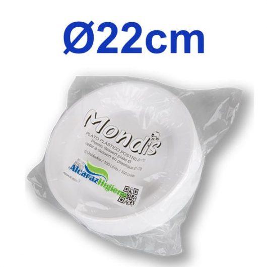 plato redondo plástico blanco 22 cm