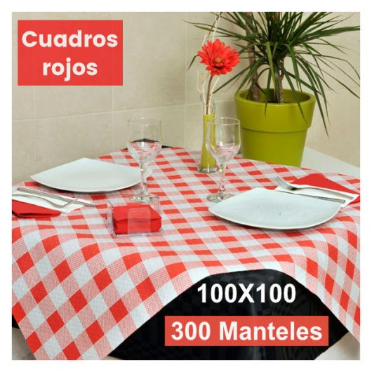 Mantel cortado de papel cuadros rojo Alcaraz Higiene online