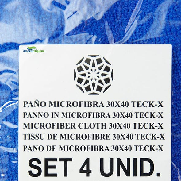 paño bayeta azul etiqueta