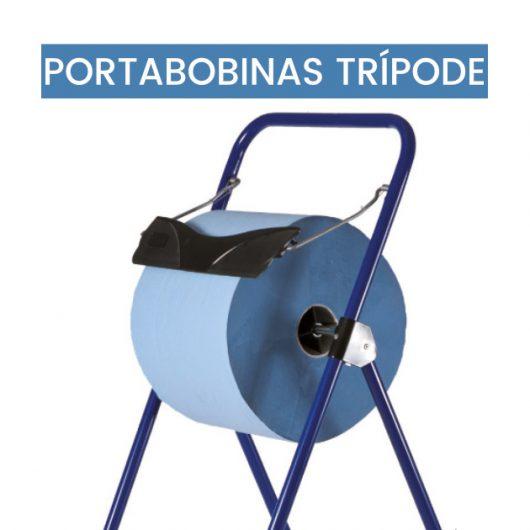 Trípode portabobinas de papel industrial azul