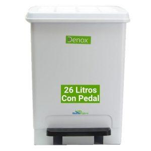 Cubo basura pedal blanco 26 litros