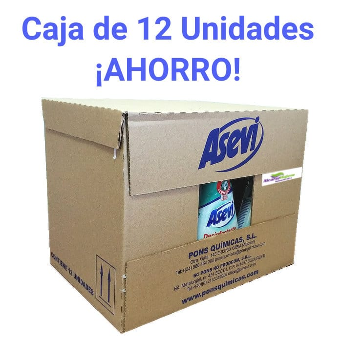 Caja desinfectante Asevi 12 unidades 750 ml