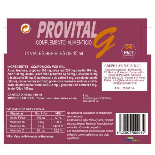 Complemento alimenticio Provital G Alcaraz Higiene