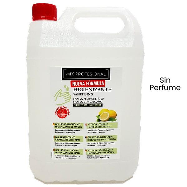 Gel hidroalcoholico de manos sin perfume 5 litros Mix Profesional