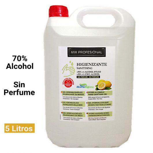 Gel de manos Higienizante sin perfume 5 litros