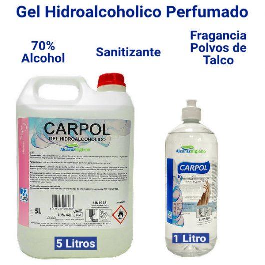 Gel hidroalcoholico perfumado 1 y 5 litros Sanitizante