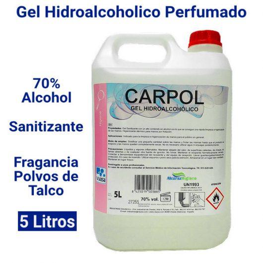 Gel hidroalcoholico sanitizante perfumado 5 litros