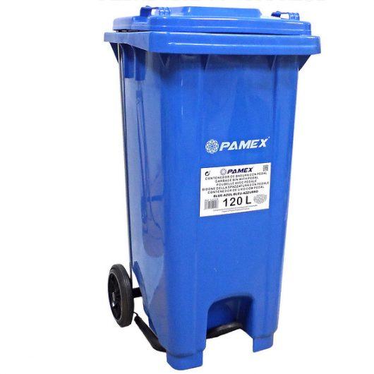 Contenedor de basura azul