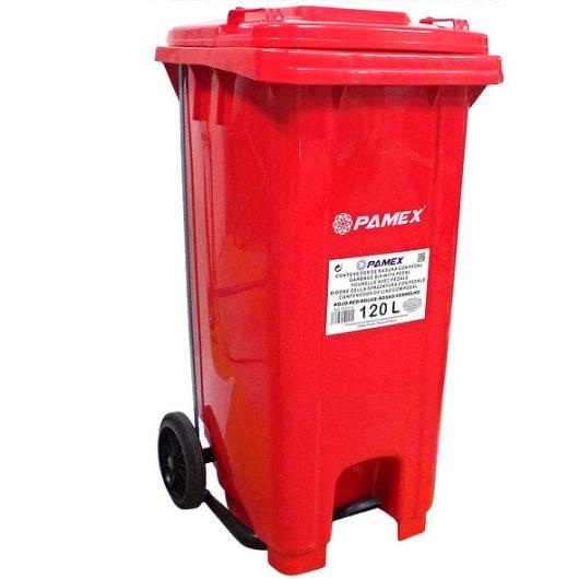 Contenedor de basura rojo