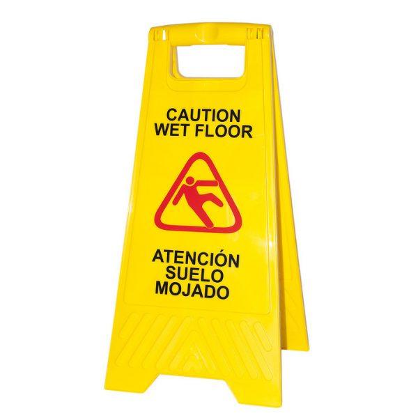 Señalización advertencia de pavimento mojado en color amarillo de alta visibilidad para evitar accidentes.