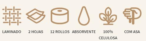 Papel higienico Acacias 12 rollos descripción