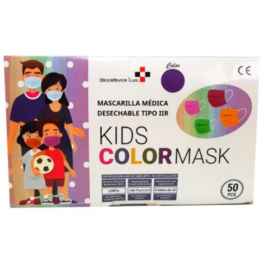 Mascarilla médica desechable infantil violeta