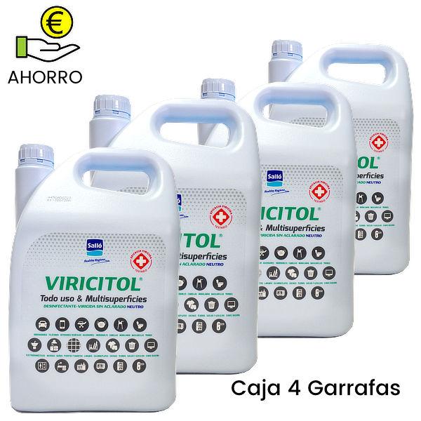 Desinfectante virucida sin aclarado Viricitol 5 litros Pack 4 Garrafas