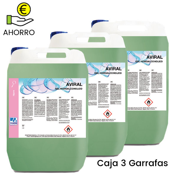 Gel hidroalcoholico desinfectante de manos Aviral 5 litros Pack 3 Garrafas